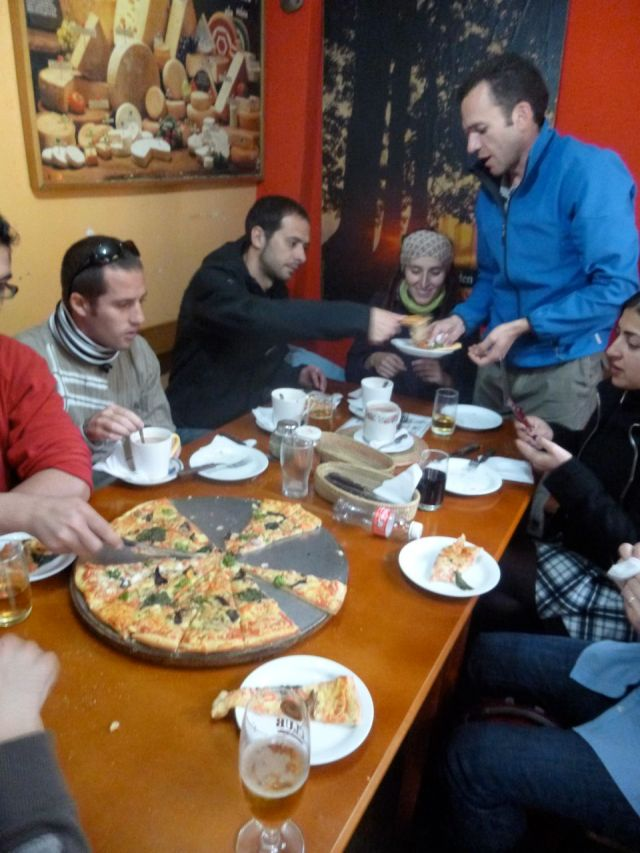 Enjoying lunch at one of two pizza restaurants in Salinas de Guaranda.